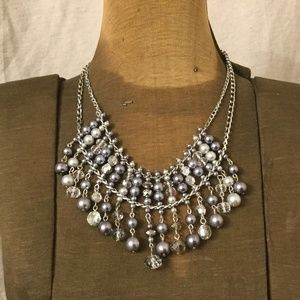 Gray/Blue and White Beaded Necklace with Earrings
